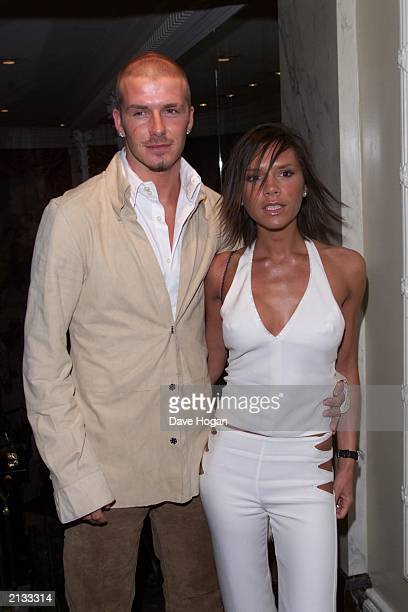 David and Victoria Beckham at the Nordoff Robbins Silver Clef Awards and music lunch at the Intercontinental hotel in London on June 29 2001