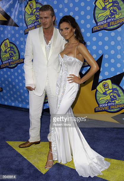 David and Victoria Beckham attend The 2003 MTV Movie Awards held at the Shrine Auditorium on May 31 2003 in Los Angeles California