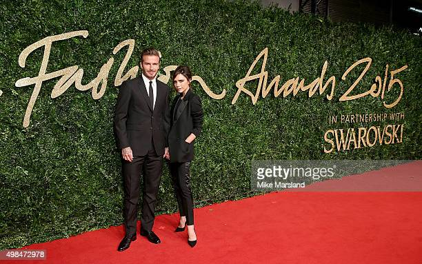 David and Victoria Beckham attend the British Fashion Awards 2015 at London Coliseum on November 23 2015 in London England