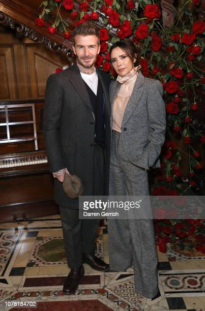 David and Victoria Beckham attend the Kent Curwen presentation during London Fashion Week Men's January 2019 at Two Temple Place on January 6 2019 in...