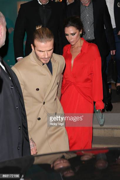 David and Victoria Beckham attend the Victoria Beckham Christmas Open House hosted by Victoria Beckham David Beckham and British Vogue at Victoria...