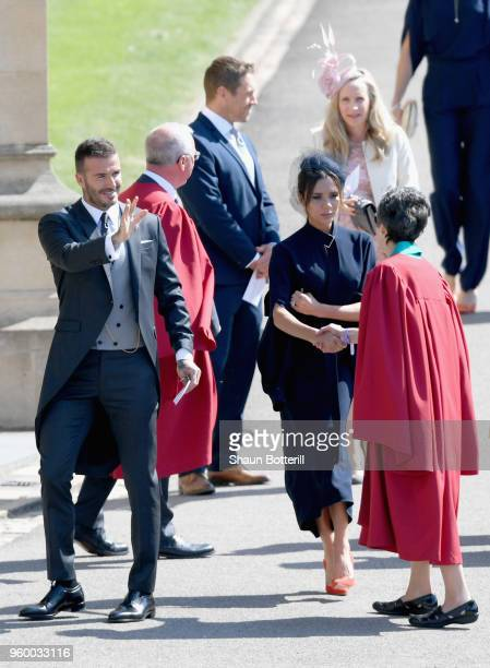 David and Victoria Beckham attend the wedding of Prince Harry to Ms Meghan Markle at St George's Chapel Windsor Castle on May 19 2018 in Windsor...