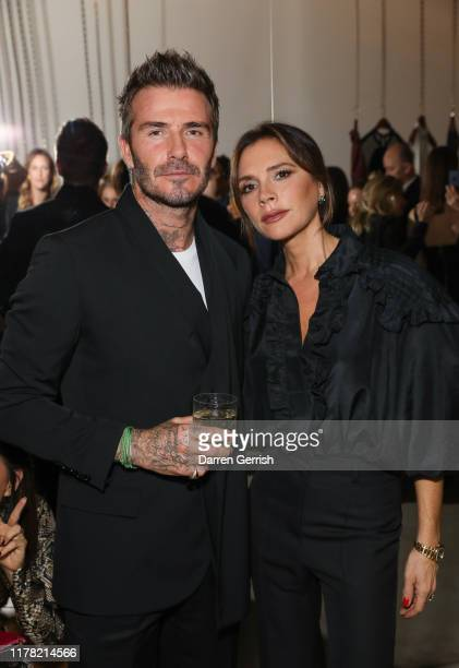 David and Victoria Beckham attend Victoria Beckham and Sotheby's celebration of Andy Warhol with Don Julio 1942 at her Dover Street store on...