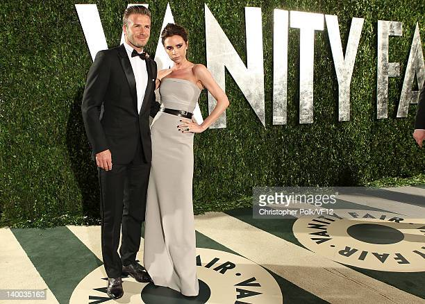 David and Victoria Beckham attends the 2012 Vanity Fair Oscar Party Hosted By Graydon Carter at Sunset Tower on February 26 2012 in West Hollywood...