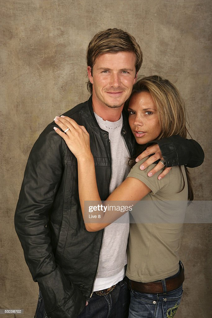 David and Victoria Beckham pose for a studio portrait backstage at 'Live 8 London' in Hyde Park on July 2, 2005 in London, England. The free concert is one of ten simultaneous international gigs including Philadelphia, Berlin, Rome, Paris, Barrie, Tokyo, Cornwall, Moscow and Johannesburg. The concerts precede the G8 summit (July 6-8) to raising awareness for MAKEpovertyHISTORY.
