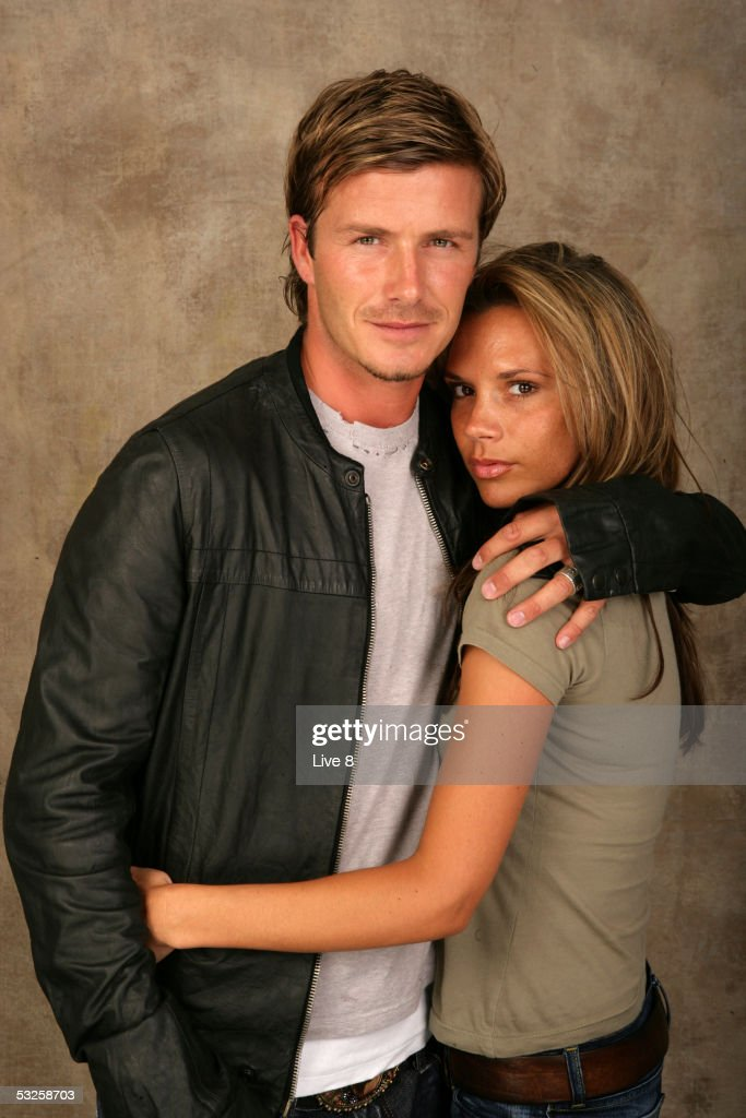 David and Victoria Beckham poses for a studio portrait backstage at 'Live 8 London' in Hyde Park on July 2, 2005 in London, England. The free concert is one of ten simultaneous international gigs including Philadelphia, Berlin, Rome, Paris, Barrie, Tokyo, Cornwall, Moscow and Johannesburg. The concerts precede the G8 summit (July 6-8) to raising awareness for MAKEpovertyHISTORY.
