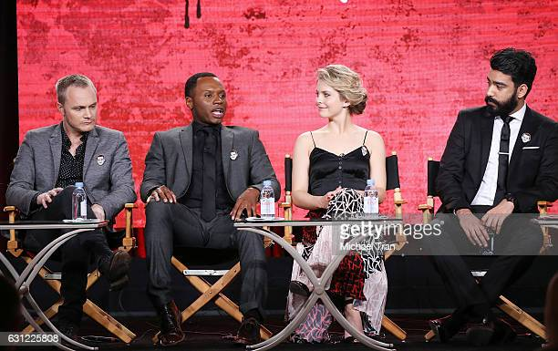 David Anders Malcolm Goodwin Rose McIver and Rahul Kohli for the 'iZombie' television show speak onstage during the 2017 Winter TCA Tour Panels CW...