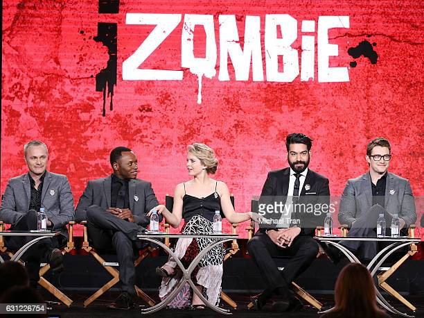 David Anders Malcolm Goodwin Rose McIver Rahul Kohli and Robert Buckley for the 'iZombie' television show speak onstage during the 2017 Winter TCA...