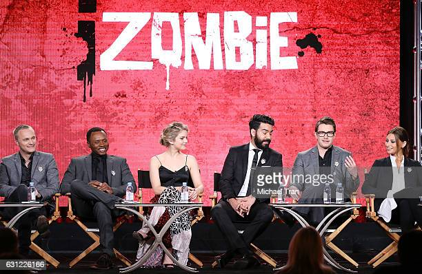 David Anders Malcolm Goodwin Rose McIver Rahul Kohli Robert Buckley and Aly Michalka for the 'iZombie' television show speak onstage during the 2017...