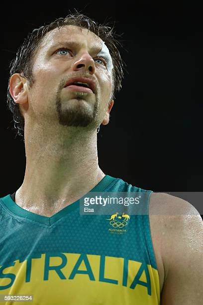 David Andersen of Australia reacts during the Men's Basketball Bronze medal game between Australia and Spain on Day 16 of the Rio 2016 Olympic Games...