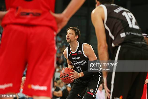 David Andersen of Melbourne United lines up a shot during the round two NBL match between Melbourne United and the Illawarra Hawks on October 16 2016...