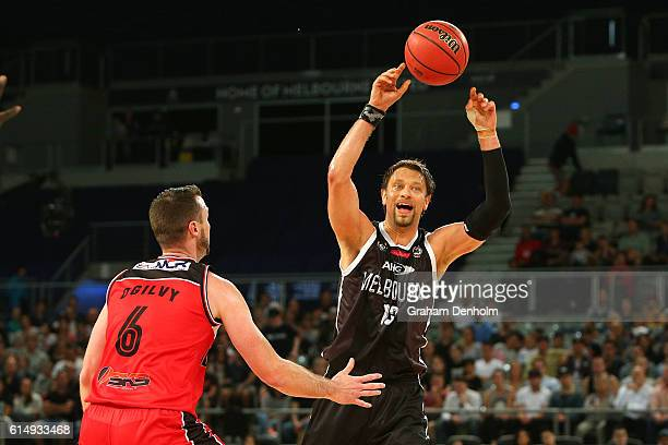 David Andersen of Melbourne United passes during the round two NBL match between Melbourne United and the Illawarra Hawks on October 16 2016 in...