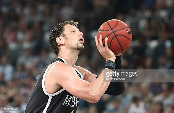 David Andersen of Melbourne United shoots the ball during the round nine NBL match between Melbourne United and New Zealand Breakers at Hisense Arena...