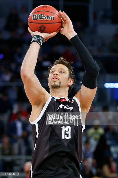 David Andersen of Melbourne United warms up before the round three NBL match between Melbourne United and the Perth Wildcats at Hisense Arena on...