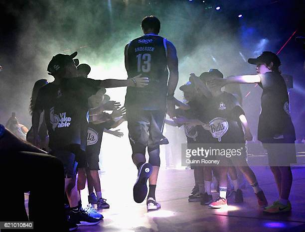 David Andersen of United walks out onto the court during the round five NBL match between Melbourne United and the New Zealand Breakers on November 4...