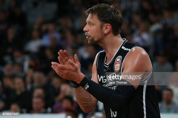 David Anderson of Melbourne United claps on the bench during the round five NBL match between Melbourne United and the Adelaide 36ers at Hisense...