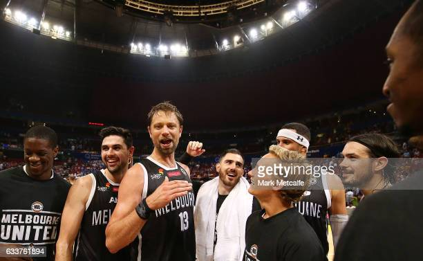 David Anderson of United celebrates victory during the round 18 NBL match between the Sydney Kings and Melbourne United at Qudos Bank Arena on...