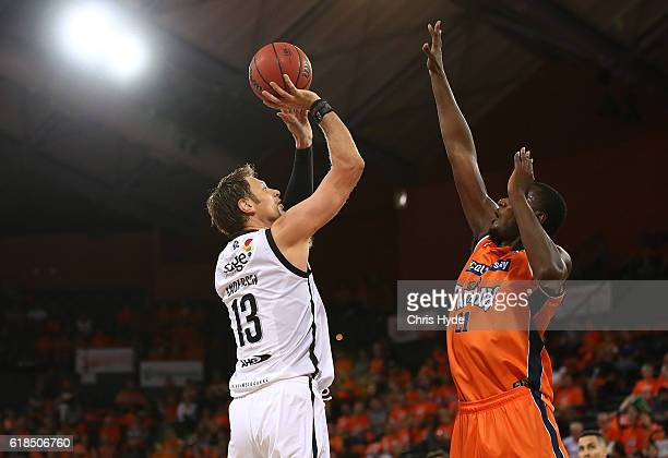 David Anderson of United shoots during the round four NBL match between the Cairns Taipans and Melbourne United at Cairns Convention Centre on...