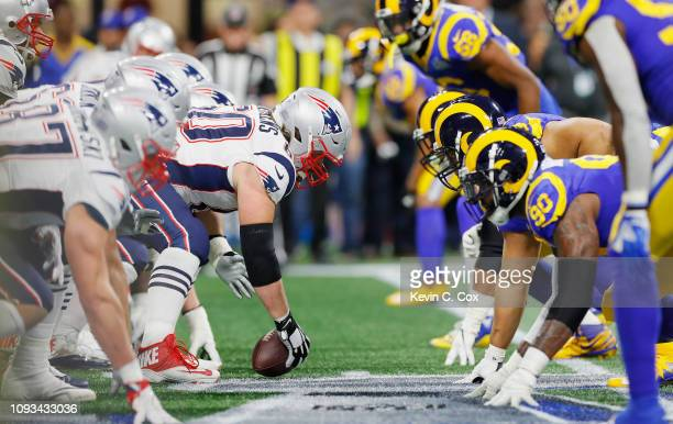 David Andrews of the New England Patriots prepares for the snap in the first half during Super Bowl LIII against the Los Angeles Rams at MercedesBenz...
