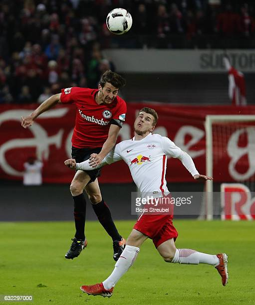 David Angel Abraham of Eintracht Frankfurt is challenged by Timo Werner of RB Leipzig during the Bundesliga match between RB Leipzig and Eintracht...