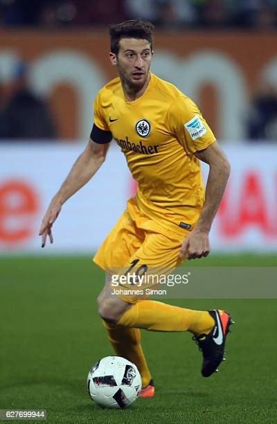 David Angel Abraham of Frankfurt in action during the Bundesliga match between FC Augsburg and Eintracht Frankfurt at WWK Arena on December 4 2016 in...