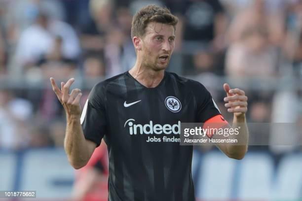 David Angel Abraham of Frankfurt reacts during the DFB Cup first round match between SSV Ulm 1846 Fussball v Eintracht Frankfurt and Eintracht...
