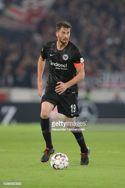 David Angel Abraham of Frankfurt runs with the ball during the Bundesliga match between VfB Stuttgart and Eintracht Frankfurt at MercedesBenz Arena...
