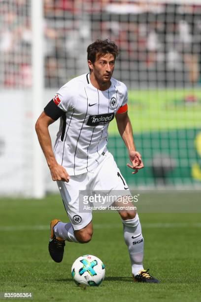 David Angel Abraham of Frankfurt runs with the ball during the Bundesliga match between SportClub Freiburg and Eintracht Frankfurt at...