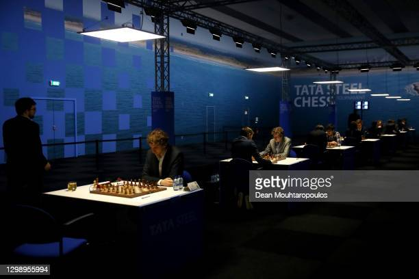 David Anton Guijarro of Spain competes against Andrey Esipenko of Russia during the 83rd Tata Steel Chess Tournament held in Dorpshuis De Moriaan on...