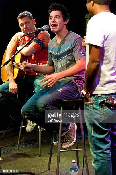 David Archuleta gestures while being interviewed at radio station Q102's Studio Q on August 24 2010 in Philadelphia Pennsylvania