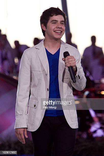 """David Archuleta performs at the annual PBS """"A Capitol Fourth"""" concert rehearsal at the US Capitol on July 3, 2010 in Washington, DC."""