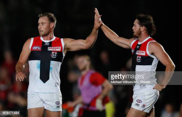 David Armitage and Jack Steven of the Saints celebrate during the AFL 2018 JLT Community Series match between the Melbourne Demons and the St Kilda...
