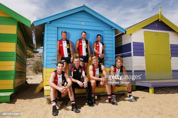 David Armitage Jarryn Geary and Leigh Montagna on the top row pose with Lenny Hayes coach Alan Richardson Nick Riewoldt and Sean Dempster during a St...