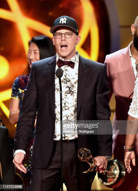 David Armour with cast and crew of Lauren Lake's Paternity Court accepts the Daytime Emmy Award for Outstanding Legal/Courtroom Program onstage...