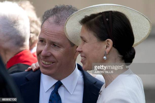David ArmstrongJones 2nd Earl of Snowdon known as David Linley and his sister Lady Sarah Chatto stand together as they talk with guests after...