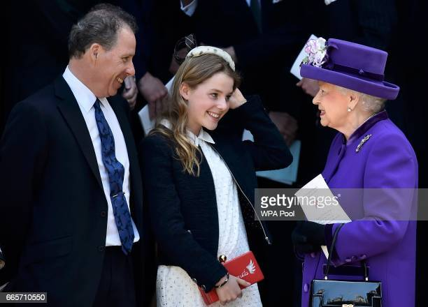 David ArmstrongJones and Margarita ArmstrongJones speak to Queen Elizabeth II as they leave a Service of Thanksgiving for the life and work of Lord...
