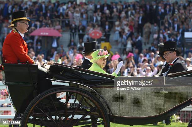 David ArmstrongJones Earl of Snowdon Queen Elizabeth II John Warren and Peter Troughton arrive in the Royal procession on day 4 of Royal Ascot at...