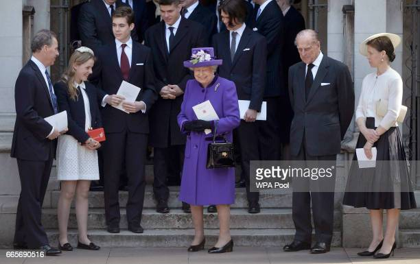 David ArmstrongJones Margarita ArmstrongJones Queen Elizabeth II Prince Philip Duke of Edinburgh and Sarah Chatto leave a Service of Thanksgiving for...