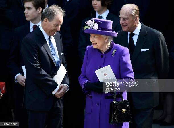 David ArmstrongJones speaks to Queen Elizabeth II and Prince Philip Duke of Edinburgh as they leave a Service of Thanksgiving for the life and work...