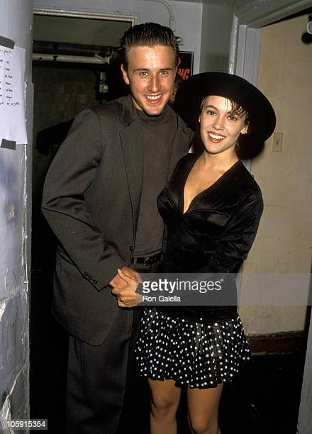 David Arquette and Alyssa Milano during Bill Ted's Bogus Journey Hollywood Premiere at Hollywood Palladium in Hollywood California United States