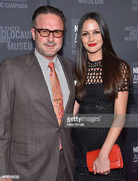 David Arquette and Christina McLarrty attend the United States Holocaust Memorial Museum presents 2016 Los Angeles Dinner: What You Do Matters at The...