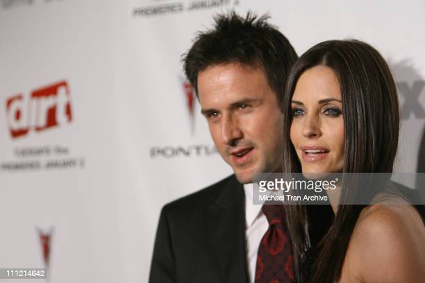 """David Arquette and Courteney Cox during """"Dirt"""" FX Premiere Screening at Paramount Theatre in Los Angeles, California, United States."""