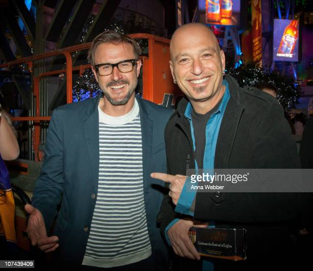David Arquette and Howie Mandel attend AEG's Season of Giving to celebrate Chanukah Live with Chabad at LA LIVE at Nokia Plaza LA LIVE on December 8...