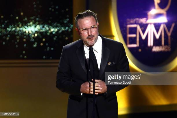 David Arquette on stage during the 45th Annual Daytime Creative Arts Emmy Awards at Pasadena Civic Auditorium on April 27, 2018 in Pasadena,...