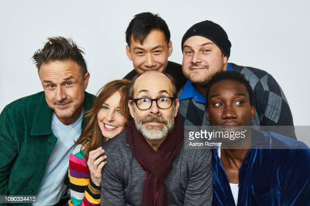 David Arquette Tonya Cornelisse Kelly Sry Brian Huskey Max Adler and Nathan StewartJarrett from 'Mope' pose for a portrait in the Pizza Hut Lounge in...