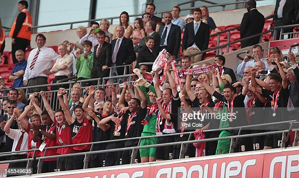 David Artell captain of Crewe Alexandra lifts the trophy at the end of npower League two playoff final between Cheltenham Town and Crewe Alexandra at...