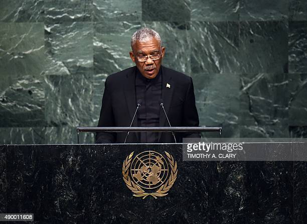 David Arthur Granger President of Guyana speaks at the United Nations Sustainable Development Summit to the at the United Nations General Assembly im...