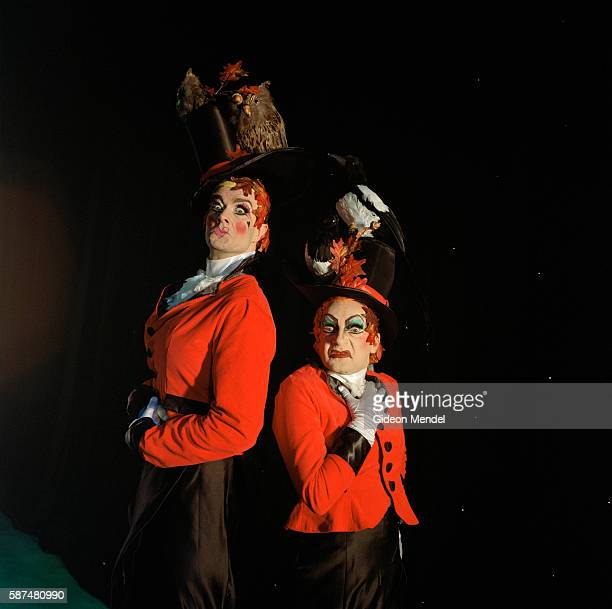 David Ashley and Michael Kirk are the pantomime dames playing the role of the ugly sisters in a production of Cinderella at The Hackney Empire in...