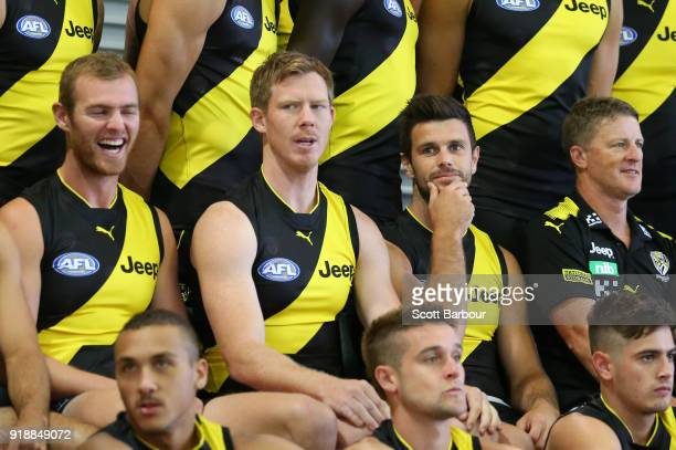 David Astbury laughs as Jack Riewoldt of the Tigers Trent Cotchin of the Tigers and Damien Hardwick coach of the Tigers look on during a Richmond...