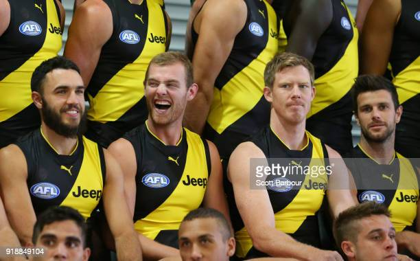 David Astbury laughs as Jack Riewoldt of the Tigers Trent Cotchin of the Tigers and Shane Edwards of the Tigers look on during a Richmond Tigers AFL...